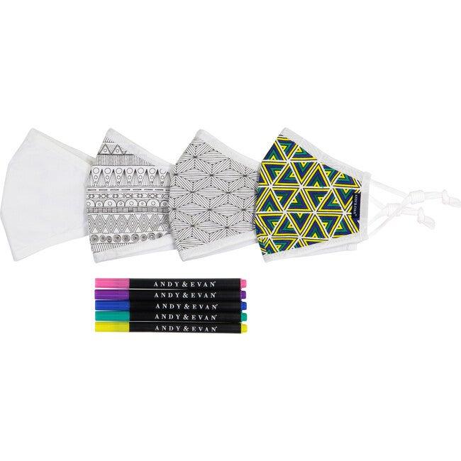 Boys 4-Pack Coloring Youth Face Masks, Mosaic