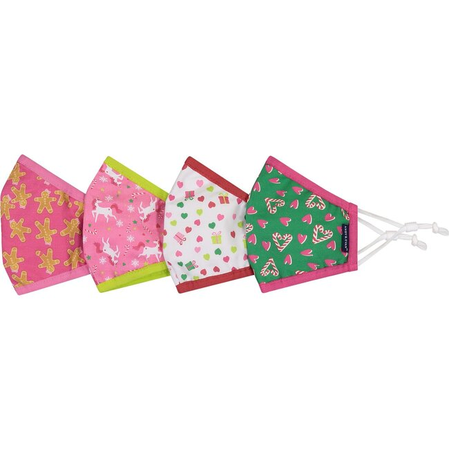 4-Pack Child Holiday Face Masks, Unicors & Candy Canes