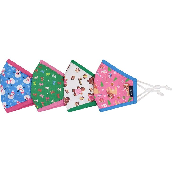 4-Pack Child Holiday Face Masks, Cookies & Snowmen
