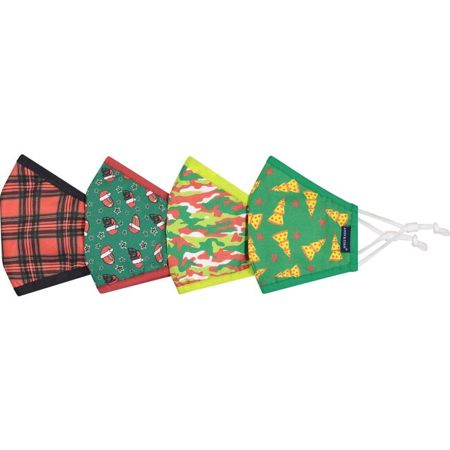 4-Pack Youth Holiday Face Masks, Sports & Pizza Trees