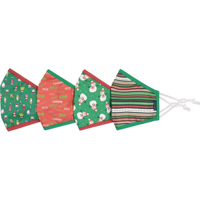 4-Pack Adult Holiday Face Masks, Naughty or Nice