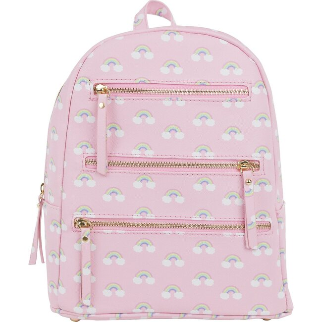 Emily Backpack, Cloudy Rainbow Pink - Bags - 1