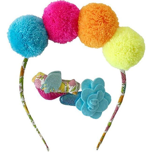 Headband & Hair Clip Set Rainbow, Multicolour