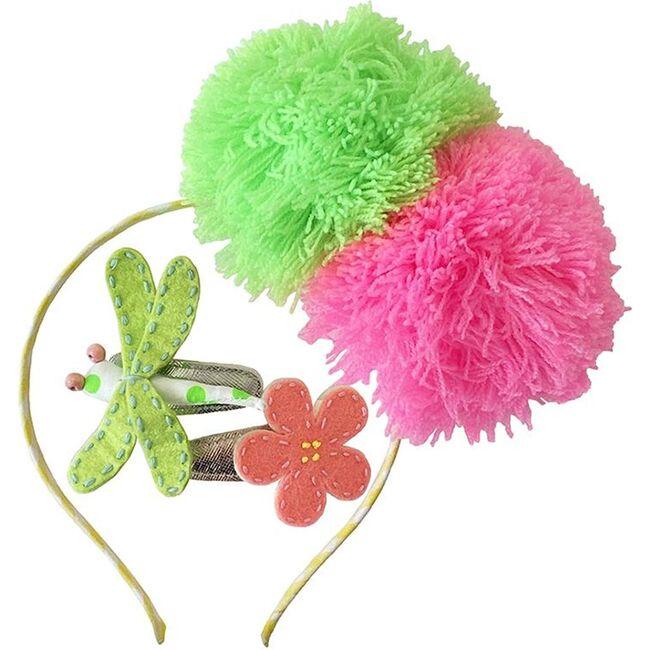 Headband & Hair Clip Set Fuzzy, Pink & Green