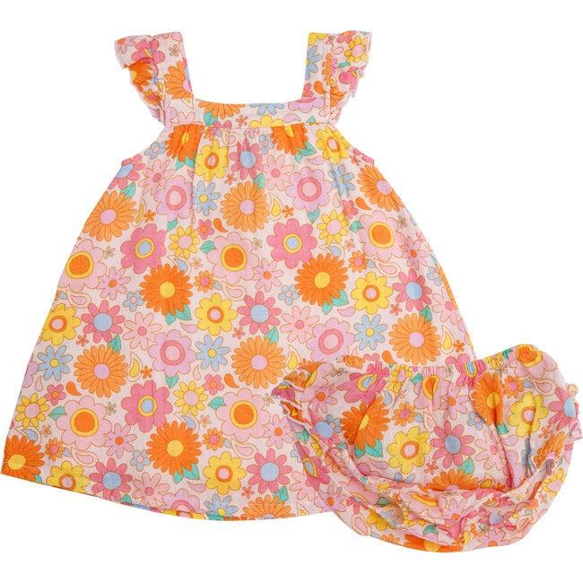 Retro Daisy Sundress with Diaper Cover Petal, Pink