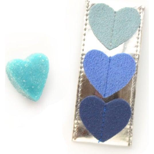Tripple Heart Clips, Blue