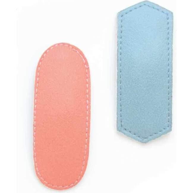 Geometric Hair Clips, Blue/Peach