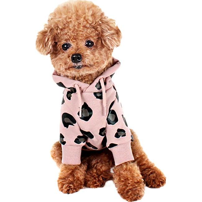 Leopard Dog Hoodie, Pink
