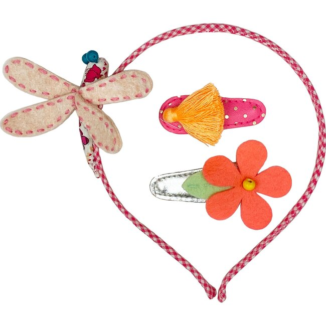 Dragonfly & Hb Hair Clip Set Pastel, Red