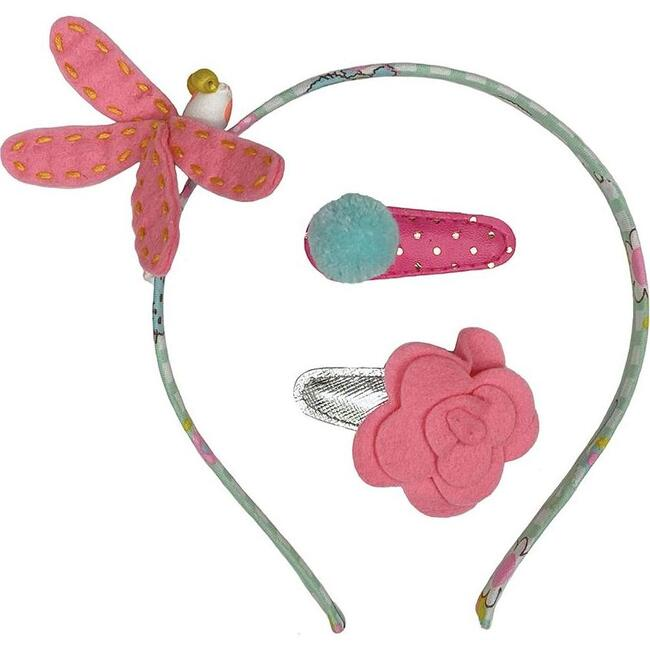 Dragonfly & Hb Hair Clip Set Coral, Multi