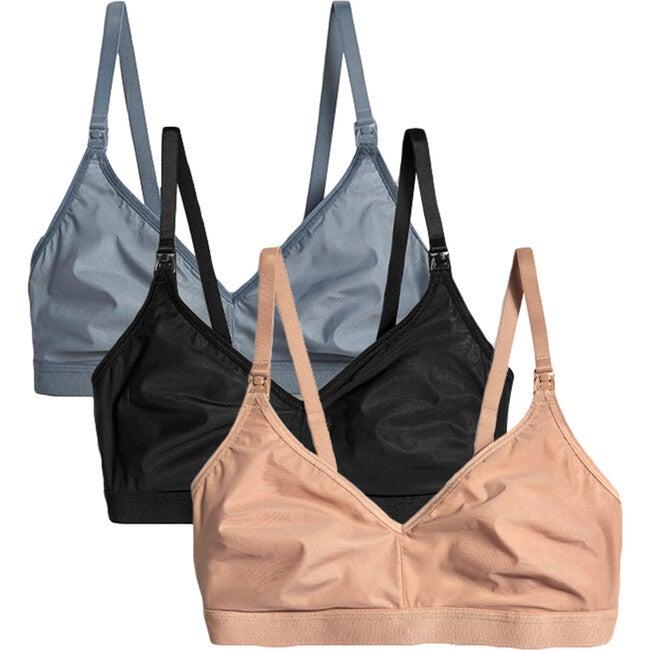 Women's Silky Nursing Bra 3 Pack, Black, Buff & Slate