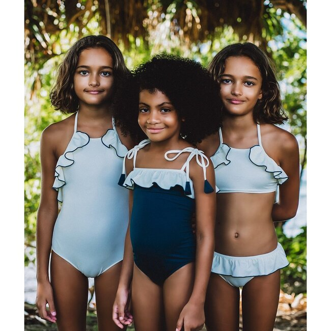 Lily One Piece Swimsuit, Teal/Ivory
