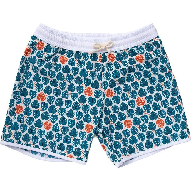 Tommaso Shorts, Tropical Leaves Teal