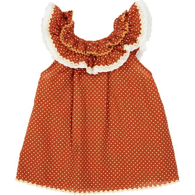 Mulloway Baby Dress, Rust Dot