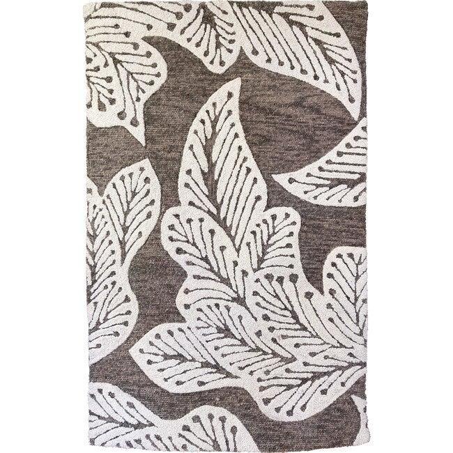 Leaf Wool Rug, Taupe