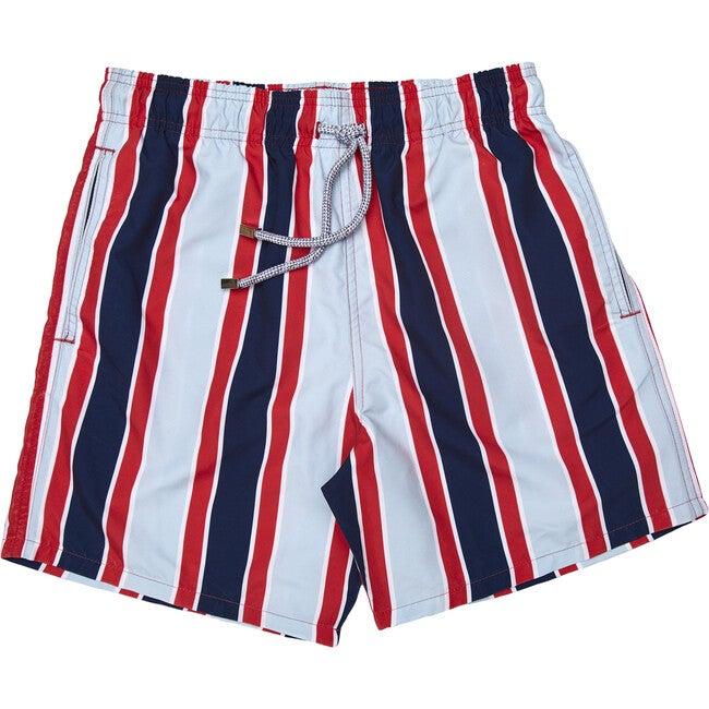 Men's Haya Red Swim Trunks, Long