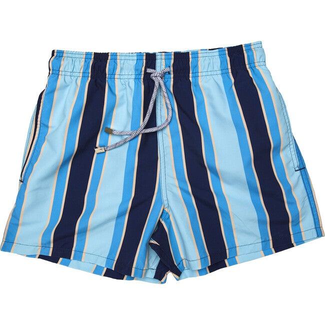 Men's Haya Blue Swim Trunks, Mid
