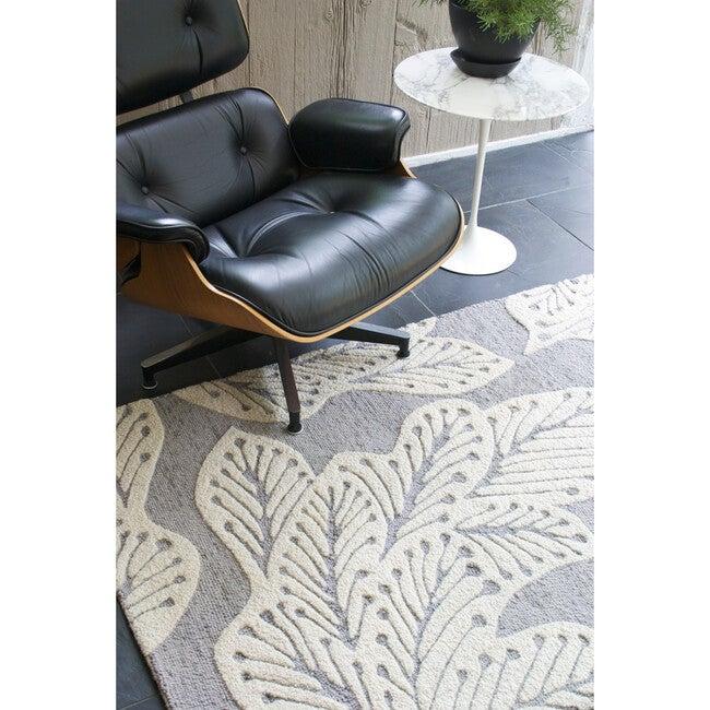 Leaf Wool Rug, Grey
