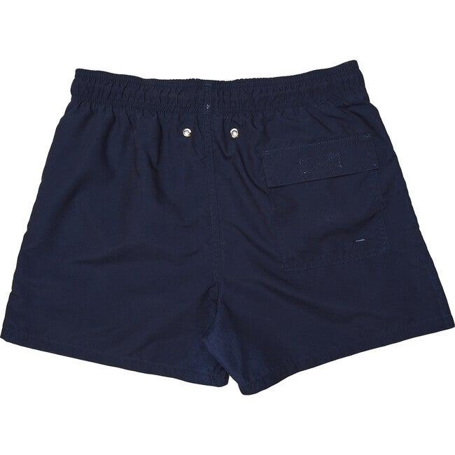 Men's Solid Navy Blue Swim Trunks, Long