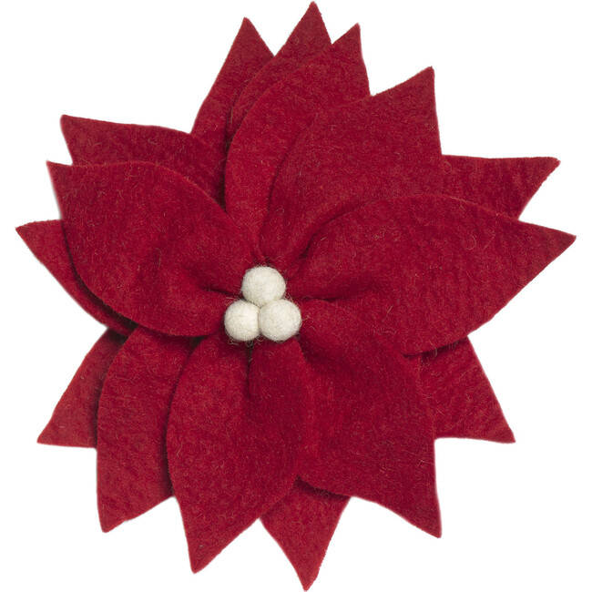 Wool Holiday Tree Topper, Poinsettia