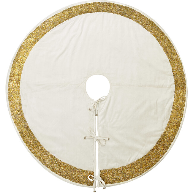 Christmas Tree Skirt, Ivory with Gold Border