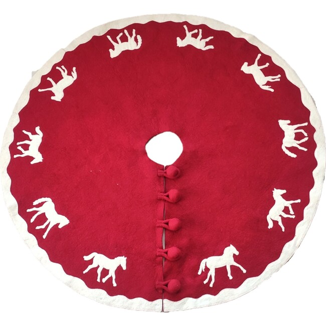 Christmas Tree Skirt in Hand Felted Wool, Horses on Red