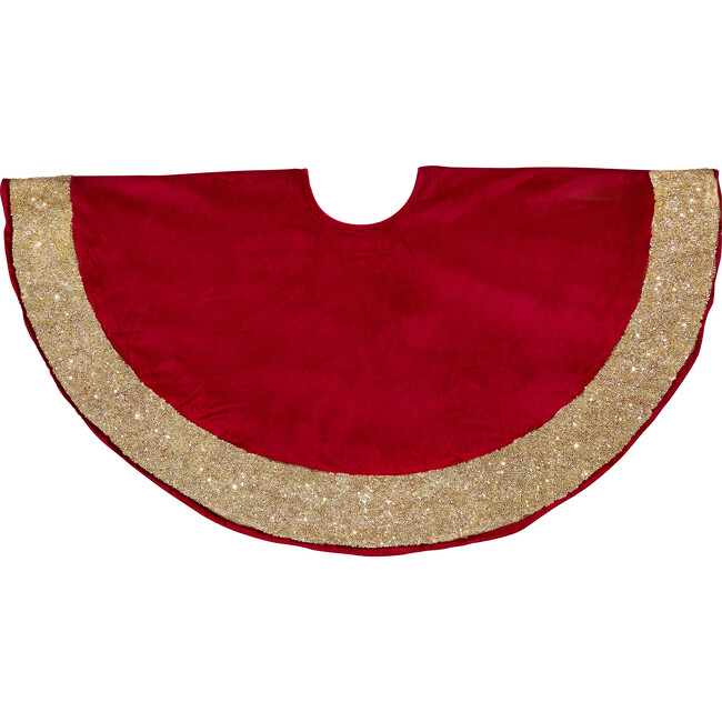 Christmas Tree Skirt, Red with Gold Border