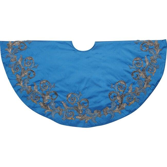Christmas Tree Skirt, Imperial Blue Silk