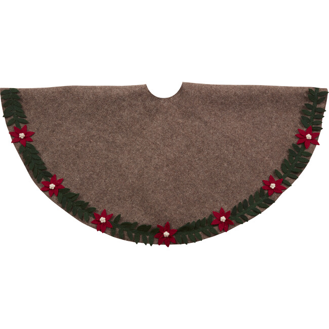 Christmas Tree Skirt, Poinsettia Border on Grey