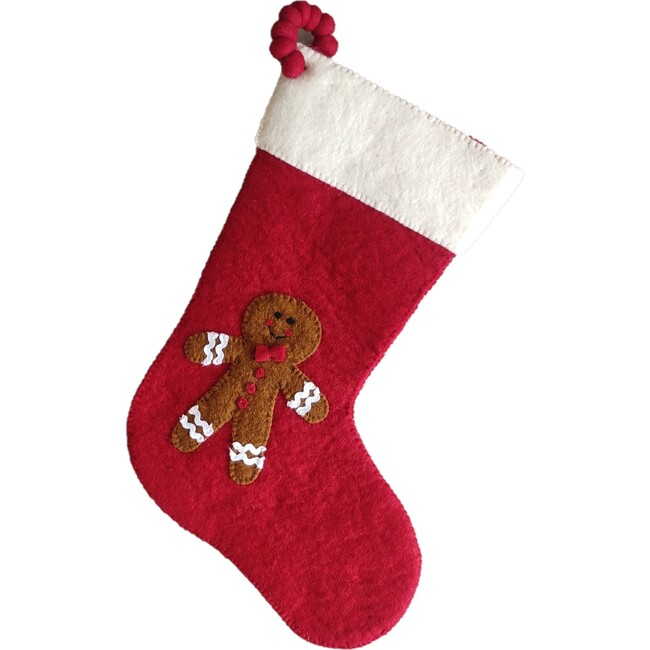 Christmas Stocking in Hand Felted Wool, Gingerbread Boy