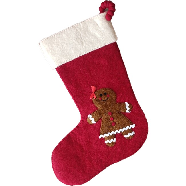 Christmas Stocking in Hand Felted Wool, Gingerbread Girl