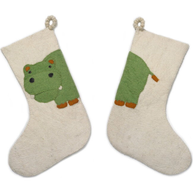 Double-Sided Hippo Stocking, Green/Cream