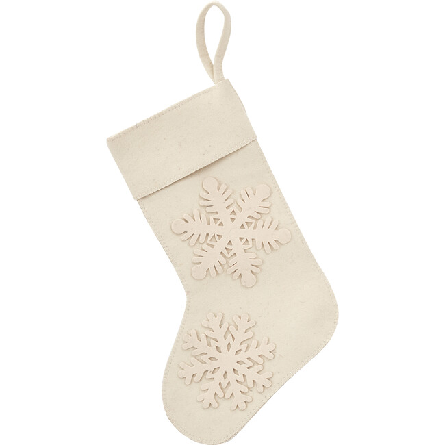 Christmas Stocking in Hand Felted Wool, Cream Tacked Snowflake