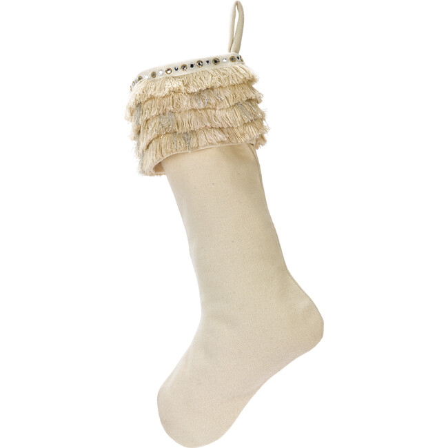 Christmas Stocking in Hand Felted Wool, Fringe on Cream
