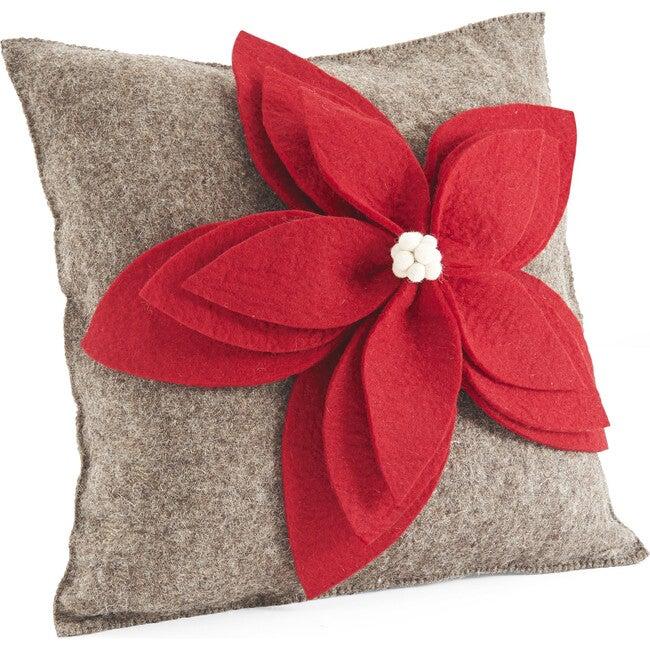 Hand Felted Wool Cushion, Poinsettia on Grey