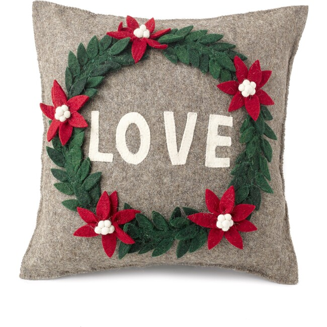 Pillow in Hand Felted Wool, Love Wreath on Grey