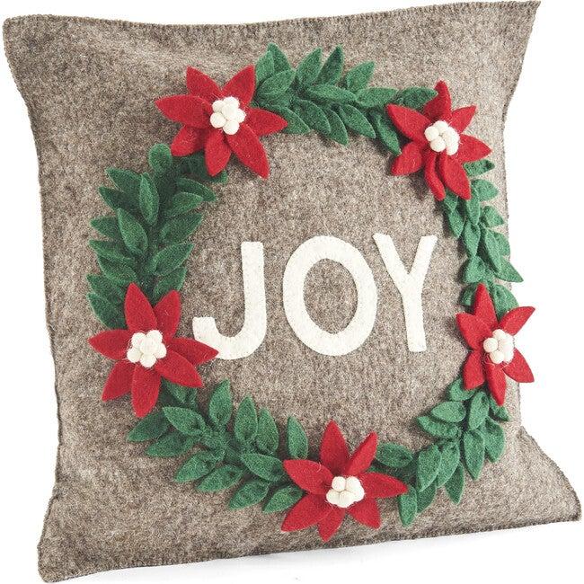 Joy Wreath Pillow, Grey