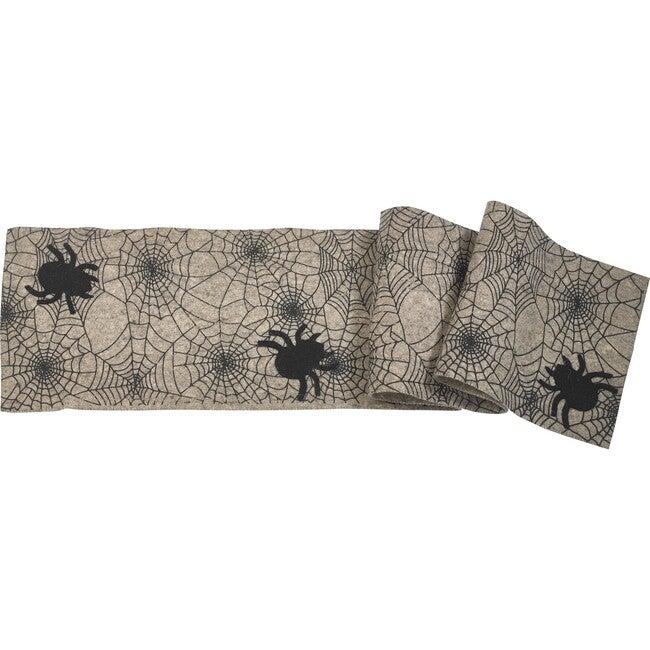 Halloween Spider Web Table Runner, Black/Grey