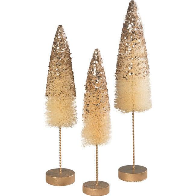 Peaceful Gold Glitter Bottle Brush Trees, Set of 3