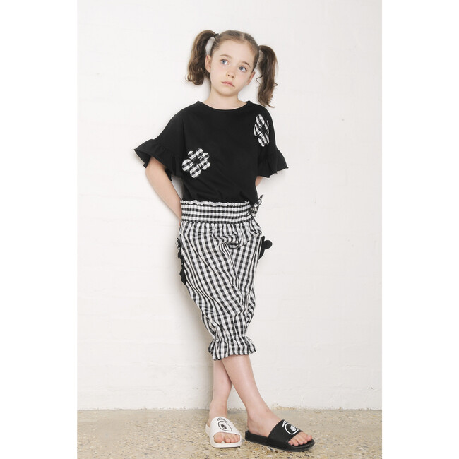 Flower Loose Fit T-Shirt, Black with Check Florals