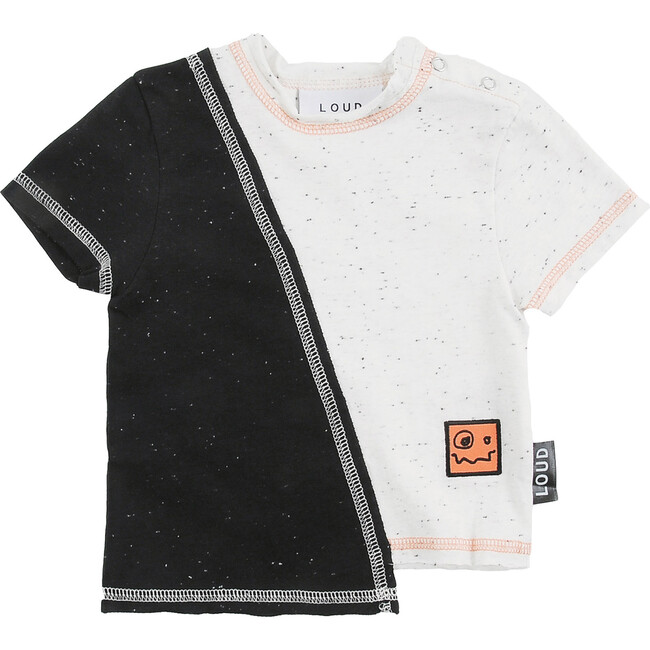 Cosmos T-Shirt, Black and Ecru Neppy
