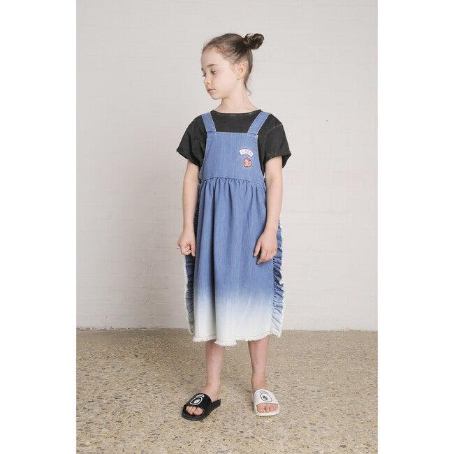 Silvery Dungaree Dress, Bleach Blue