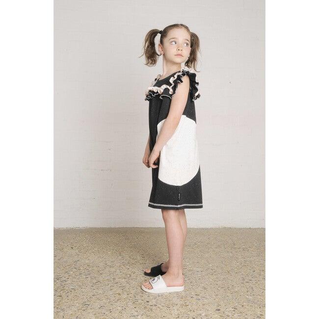 Balloon Ruffle Dress, Black and Ecru Neppy