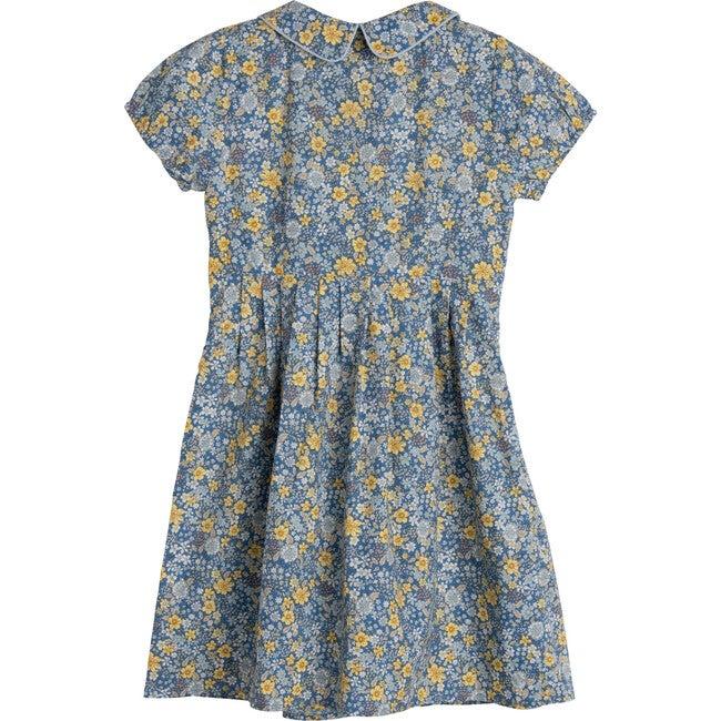 Emmalyn Short Sleeve Collared Dress, Blue Yellow Floral