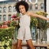 Lauren Jersey Romper, White Ditsy Flower - Rompers - 3