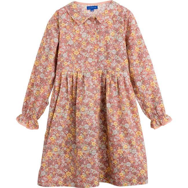 Emma Long Sleeve Collared Dress, Pink Flower Garden