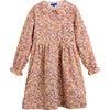 Emma Long Sleeve Collared Dress, Pink Flower Garden - Dresses - 1 - thumbnail