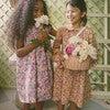Emma Long Sleeve Collared Dress, Pink Flower Garden - Dresses - 2