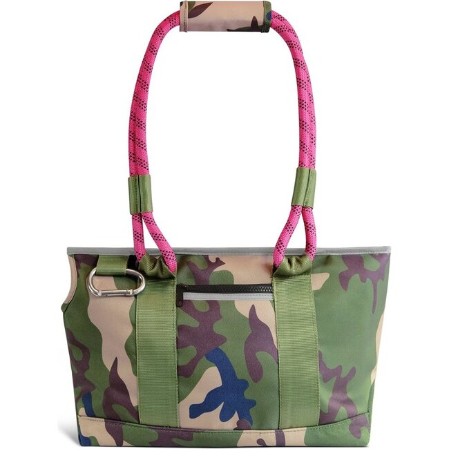 Commuter Dog Tote, Camo and Magenta