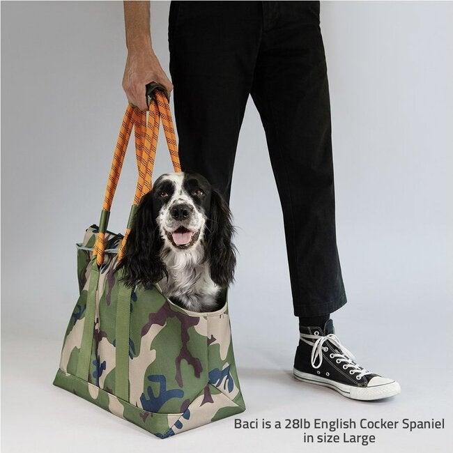 Commuter Dog Tote, Camo and Orange